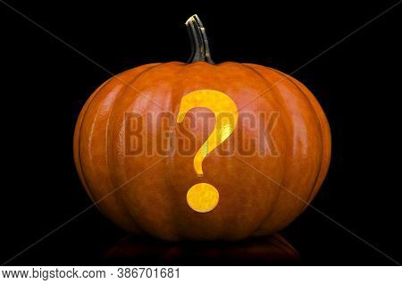 Question Mark Carved In Pumpkin. Halloween Font On Black Background, 3d Rendering