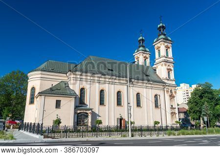 Bielsko-biala, Poland - June 15, 2020: Facade Of Church Of Divine Providence.