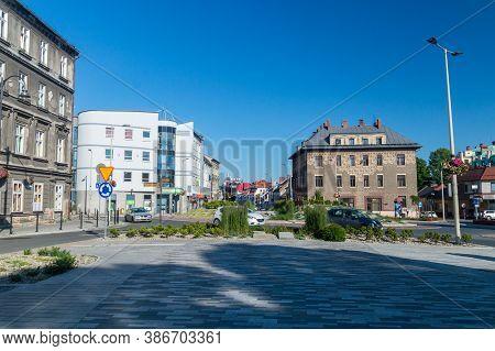 Bielsko-biala, Poland - June 15, 2020: Square Near Church Of Divine Providence.