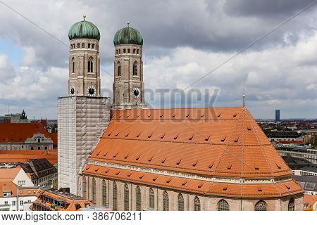 Top View Of The Frauenkirche Cathedral In Munich.travel To Germany.the View Of The City's Attraction