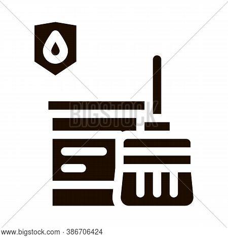 Waterproof Material Paint Vector Icon. Waterproof Material Pail Bucket Dye And Brush Tessel, Industr