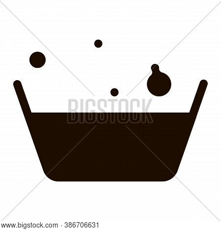 Laundry Service Soapsuds Bowl Vector Line Icon. Soapy Water With Foam Laundry Service Washing Clothe