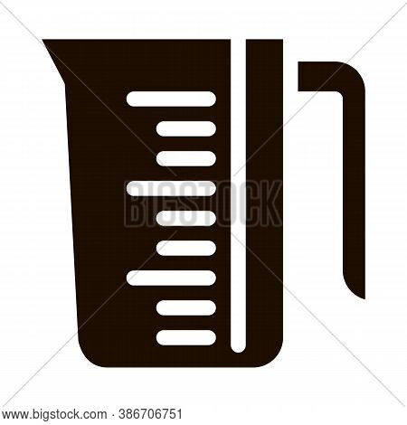 Porcelain Laundry Service Cup Vector Line Icon. Measuring Cup, Water Bowl Washing Clothes Pictogram.