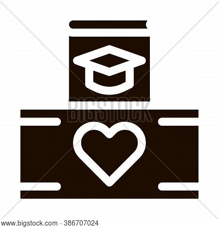 Volunteers Support Study Box Vector Icon. Volunteers Support, Help Charitable Organizations, Heart O