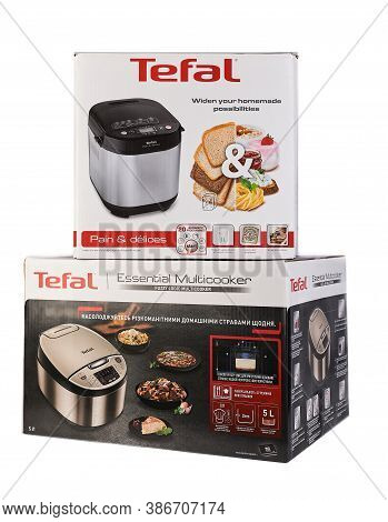Zaporizhzhya, Ukraine - 07 September 2020: Multicooker And Tefal Bread Machine In A Box On A White B