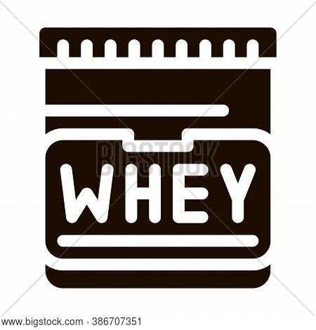 Whey Protein Container Sport Vector Icon. Creatine Powder Sport Nutrition For Sportsman Pictogram. D