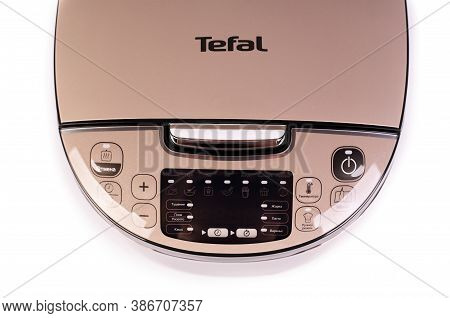 Zaporizhzhya, Ukraine - 07 September 2020: Tefal Multicooker Isolated On White Background.