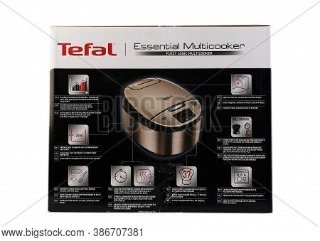 Zaporizhzhya, Ukraine - 07 September 2020: Tefal Multicooker In A Box Isolated On White Background.