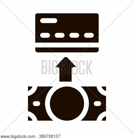 Putting Money Cash On Card Vector Icon. Online Money Transactions, Financial Internet Banking Paymen
