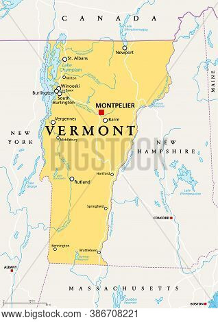 Vermont, Vt, Political Map With Capital Montpelier, Borders, Cities, Rivers And Lakes. Northeastern