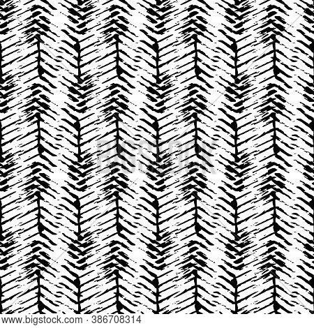 Vector Herringbone Weave Effect Seamless Pattern Background. Hessian Fiber Texture Fabric Style Blac