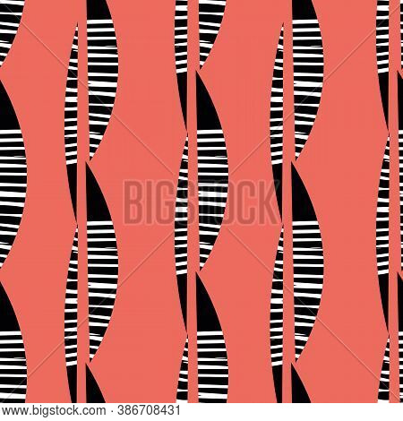 Abstract Mono Print Style Tribal Foliage Seamless Vector Pattern Background. Simple Lino Cut Effect