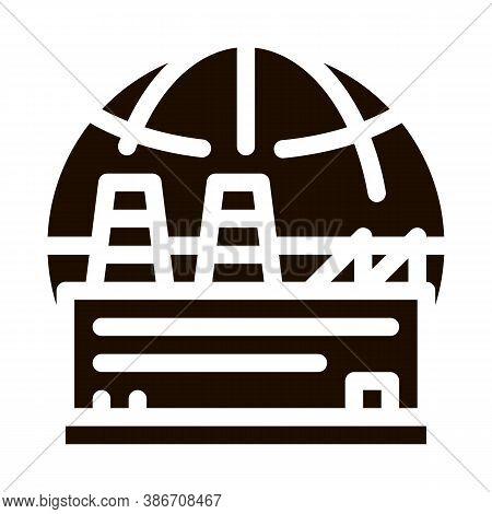 Industrial Factory Planet Vector Icon. Build Factory Plant Environmental Problem, Industrial Polluti
