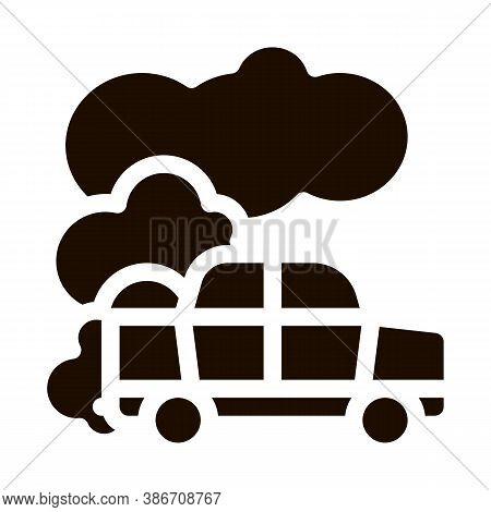 Car Co2 Carbonic Oxide Air Vector Icon. Car Exhaust Gaz Dirty Air Environmental Pollution Defilement