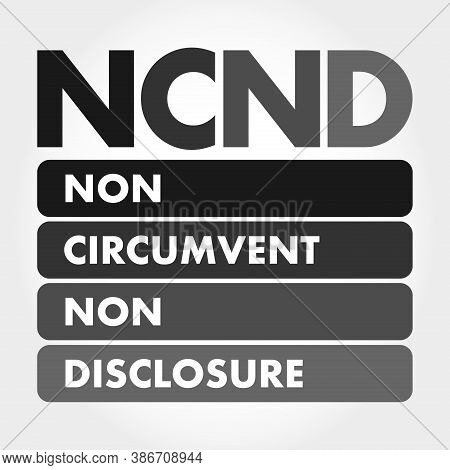 Ncnd - Non-circumvent And Non-disclosure Acronym, Business Concept Background