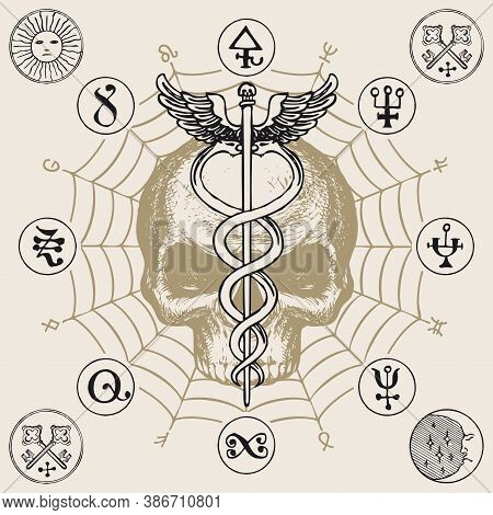 Illustration With A Human Skull And A Caduceus With Two Snakes And Wings. Hand-drawn Vector Banner W