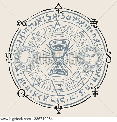 Holy Grail With The Sun, Moon, Alchemical And Masonic Symbols. Vector Hand-drawn Banner In Retro Sty