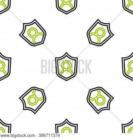 Line User Protection Icon Isolated Seamless Pattern On White Background. Secure User Login, Password