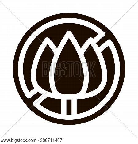 Allergen Free Sign Flower Vector Icon. Allergen Free Farina Pollen Pictogram. Crossed Out Mark Flowe
