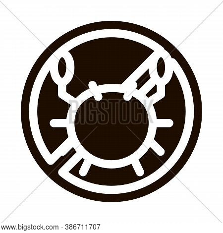 Allergen Free Sign Seafood Vector Icon. Allergen Free Food Pictogram. Crossed Out Mark With Sea Crab