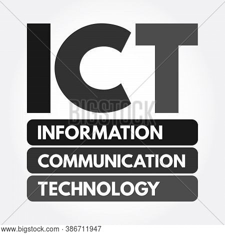 Ict - Information And Communication Technology Acronym, Business Concept Background