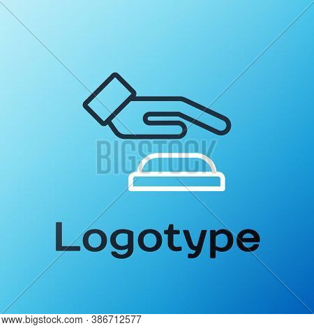 Line Palm Print Recognition Icon Isolated On Blue Background. Biometric Hand Scan. Fingerprint Ident