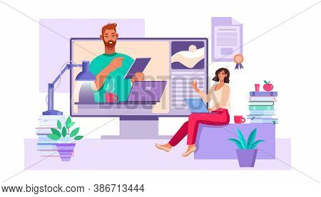Online Education And Webinar Concept With Tutor, Young Student, Laptop, Books, Diploma. Virtual Meet
