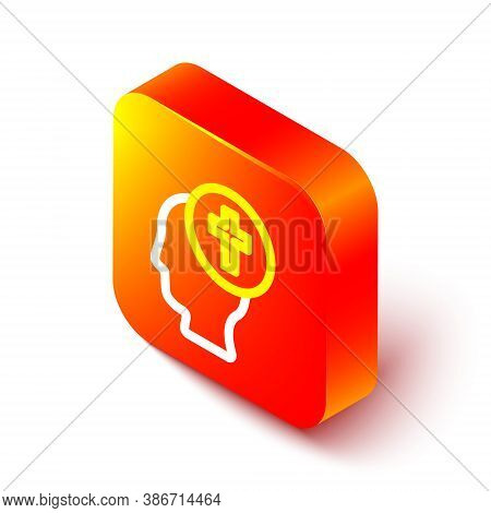 Isometric Line Man Graves Funeral Sorrow Icon Isolated On White Background. The Emotion Of Grief, Sa