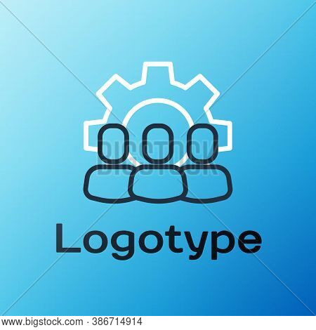 Line Project Team Base Icon Isolated On Blue Background. Business Analysis And Planning, Consulting,