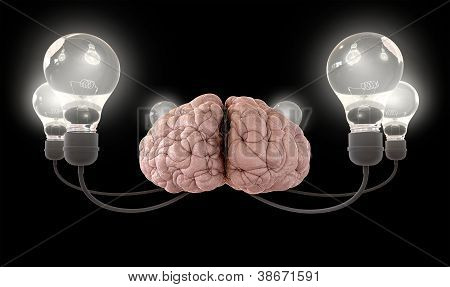 A regular brain encircled by six cords attached to illuminated lightbulbs on an isolated black background poster