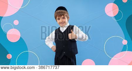 Thumb Up, Smiling, Cheerful. Jewish Boy Portrait. Beautiful Male Model In Casual. Concept Of Human E