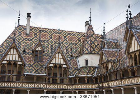 Hospices de dieu in beaune of the burgundy region, france, - church hospital