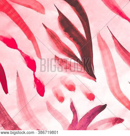 Graphic Ornament. Ethnic Composition. Fuchsia African Ornate With Cold Stripe. Rose And Mauve Pink A