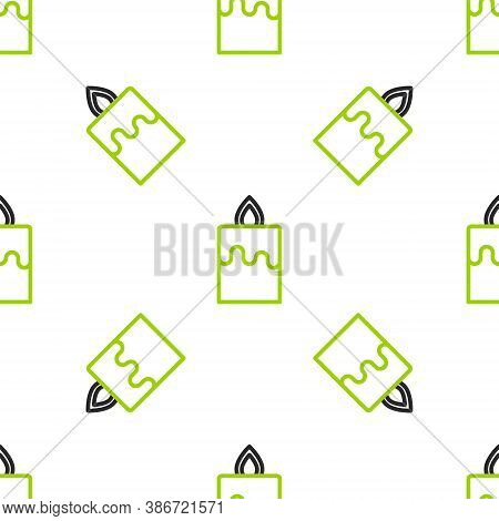 Line Burning Candle Icon Isolated Seamless Pattern On White Background. Cylindrical Aromatic Candle