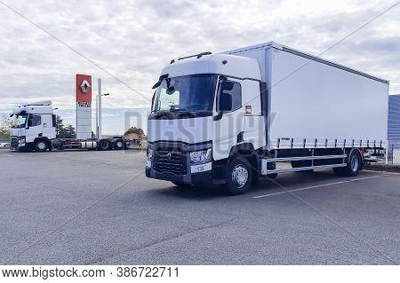 Bordeaux , Aquitaine / France - 09 20 2020 : Renault Comfort Truck Cargo Transportation Parked For S