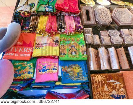 Sharm El Sheikh, Egypt - September 15, 2020: The Local T Shirt In Egyptian Souvenir Shop At Sharm El