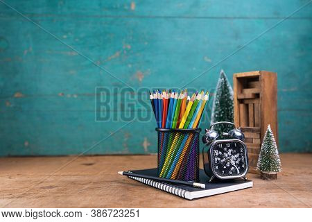 School Desk Wood Color On Wooden Table Background Board