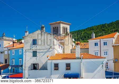 Town Of Cres On The Island Of Cres, Adriatic Coast In Croatia, Old Buildings In City Center