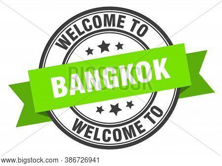 Bangkok Stamp. Welcome To Bangkok Green Sign