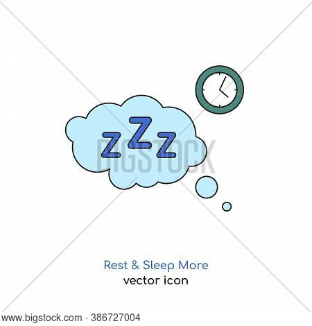 Rest And Sleep More Icon. Sleeping Problems Sign. Sleeping Disorder, Nightmare, Sleeplessness Pictog