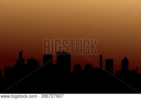 Background Of Silhouettes Of Skyscrapers. Modern Vector Landscape. Modern City, Houses, Skyscrapers.