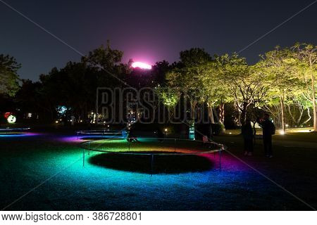Taichung City, Taiwan - Feb 23rd, 2020: fine art lantern festival with tourists and lanterns at National Taiwan Museum of Fine Arts in Taichung City, Taiwan, Asia
