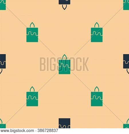 Green And Black Burning Candle Icon Isolated Seamless Pattern On Beige Background. Cylindrical Aroma