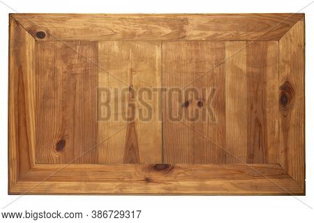 Wooden Textured Board On White Background. Stand Made Of Wood