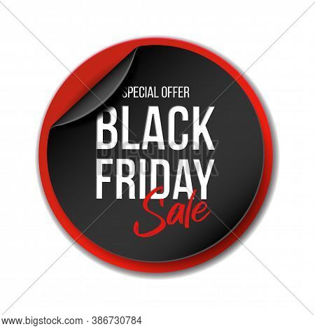 Black Realistic Curved Paper Banner For Black Friday Super Sale.