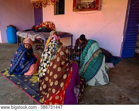 District Katni, India - January 16, 2020: Indian Village Women Gathering For Micro Finance Loan Repa