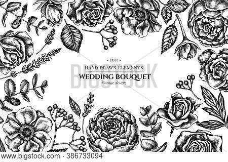 Floral Design With Black And White Roses, Anemone, Eucalyptus, Lavender, Peony, Viburnum Stock Illus