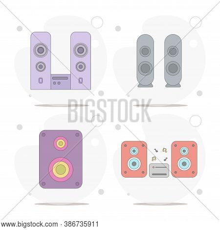 Speakers. Stereo Speakers With Subwoofer Vector Flat Illustration On White Background