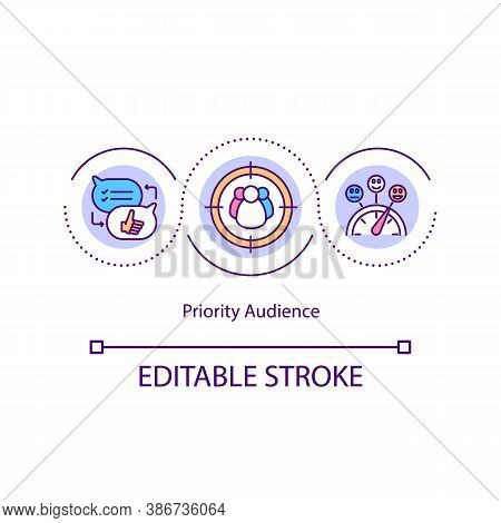 Priority Audience Concept Icon. Content Marketing Idea Thin Line Illustration. Focus Group.targeting