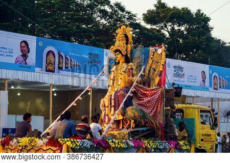 Kolkata, West Bengal, India, October, 2019 : Kartik Thakur Puja Background. Indian Hindu God Of War,